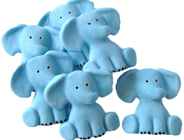 Blue Edible elephants cake decorations