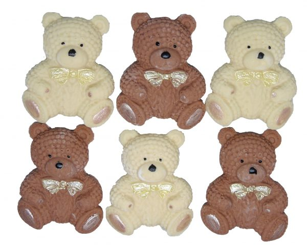 Brown Cream knitted Teddy cupcake toppers and cake decorations