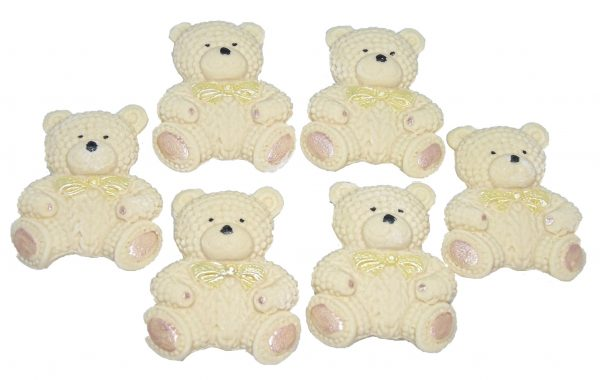 Cream knitted Teddy cupcake toppers and cake decorations
