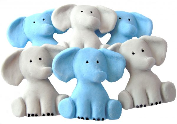 Blue grey Edible elephants cake decorations