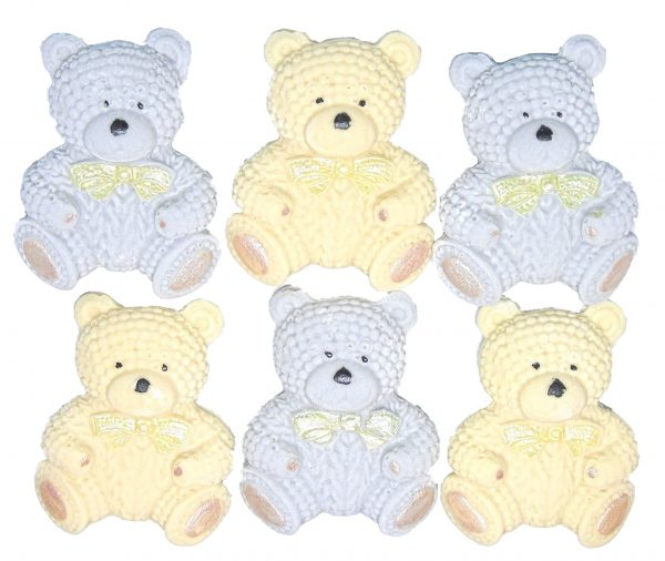 Grey Cream knitted Teddy cupcake toppers and cake decorations