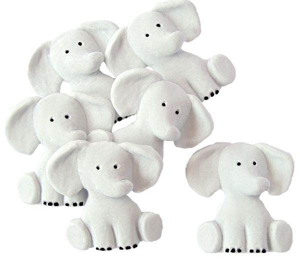 Grey Edible elephants cake decorations