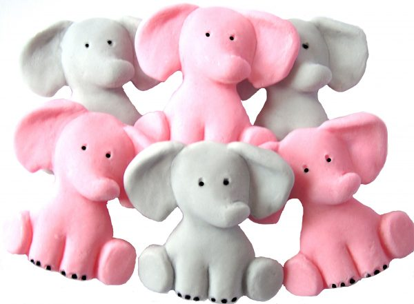 Pink Grey Edible elephants cake decorations