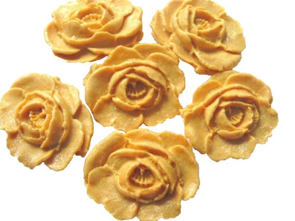 Gold large edible roses cupcake cake topper decorations