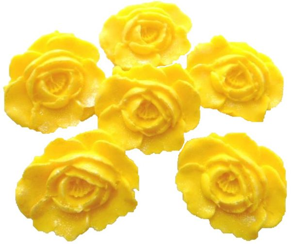 Yellow large edible roses cupcake cake topper decorations