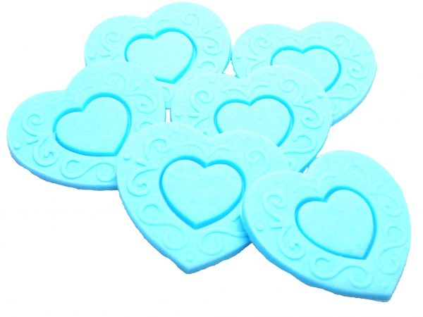 Blue Large edible hearts cake toppers