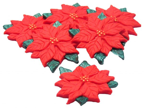 Red poinsettias cake toppers