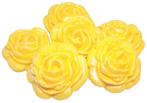Yellow large edible rose decorations