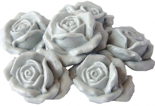 Silver Large 3d rose cake topper decorations
