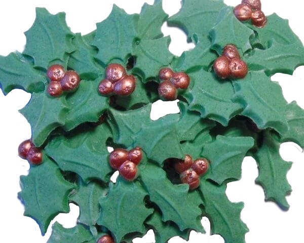 Edible holly Christmas decorations