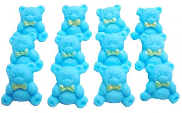 Blue teddys baby shower cupcake toppers