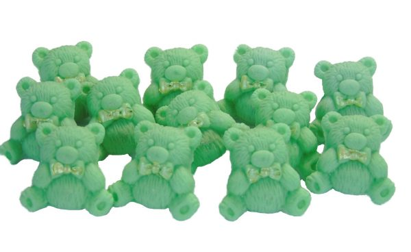 Green teddys baby shower cupcake toppers