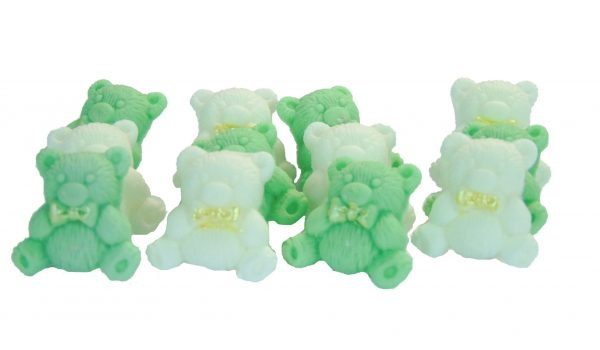 Green white teddys cupcake toppers