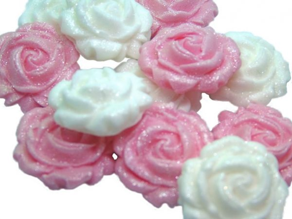 New small roses set pink white