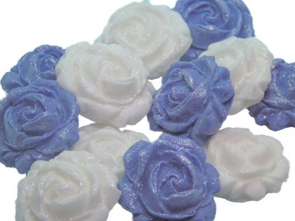 New small roses set purple white