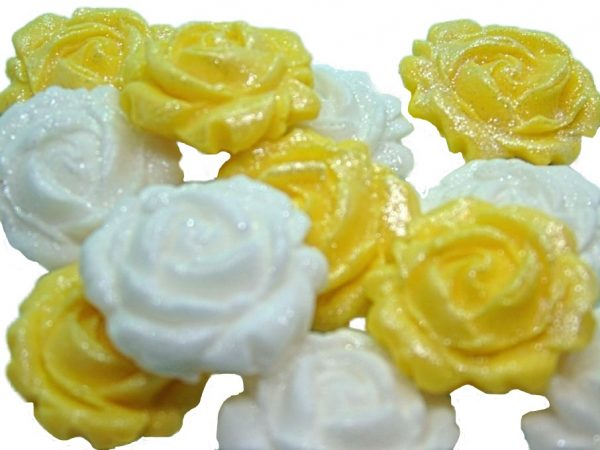 New small roses set yellow white
